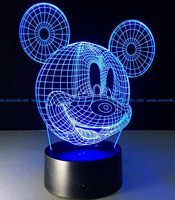 3D illusion led night light free vector download for laser engraving machines