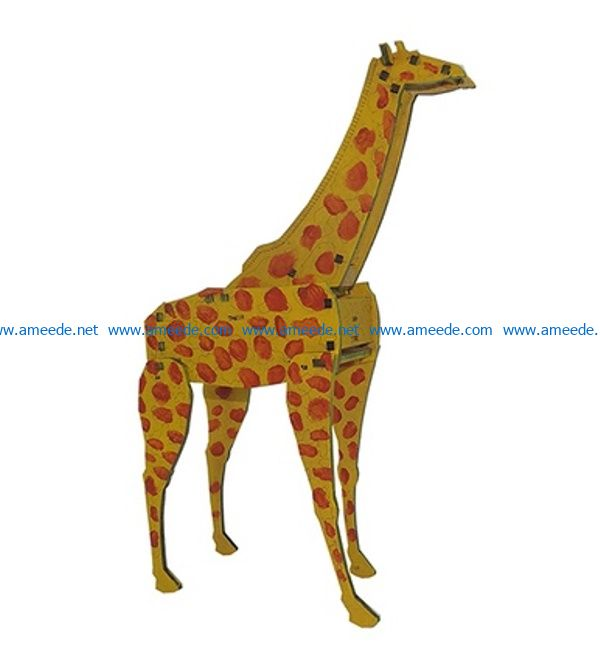 3D puzzle giraffe file cdr and dxf free vector download for Laser cut