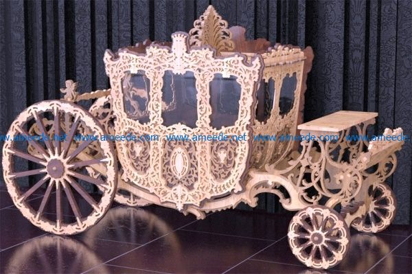 Ancient royal wagon file cdr and dxf free vector download for Laser cut CNC