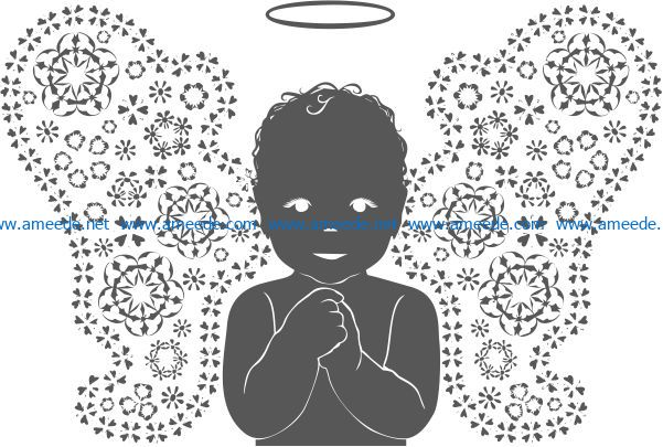 Angel boy file cdr and dxf free vector download for print or laser engraving machines