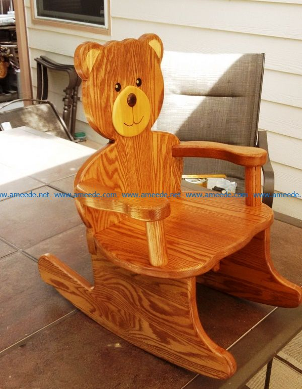Bear rocking chair file cdr and dxf free vector download for Laser cut CNC