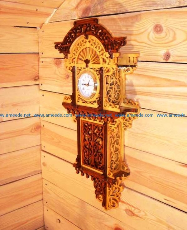 Beautiful wooden clock file cdr and dxf free vector download for Laser cut