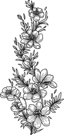 Black and white flowers file cdr and dxf free vector download for print or laser engraving machines