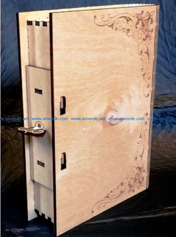 Book box file cdr and dxf free vector download for CNC cut