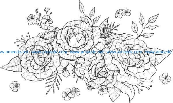 Bunches of roses file cdr and dxf free vector download for print or laser engraving machines