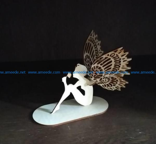 Butterfly fairy with roses file cdr and dxf free vector download for Laser cut