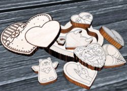 Casket Valentin file cdr and dxf free vector download for Laser cut