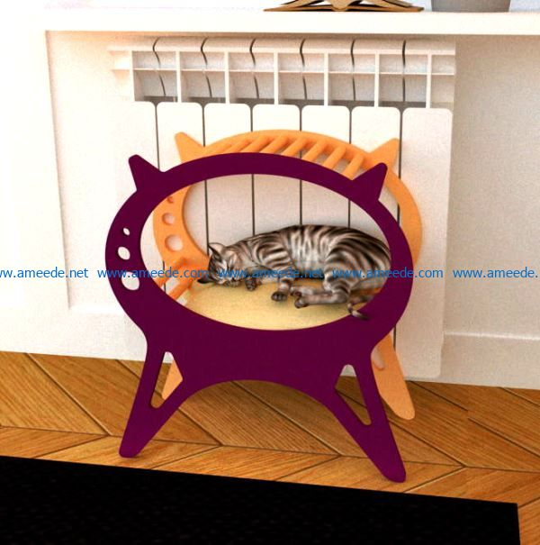 Cat Bed file cdr and dxf free vector download for Laser cut