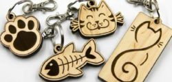 Cat and fish Keychains file cdr and dxf free vector download for Laser cut