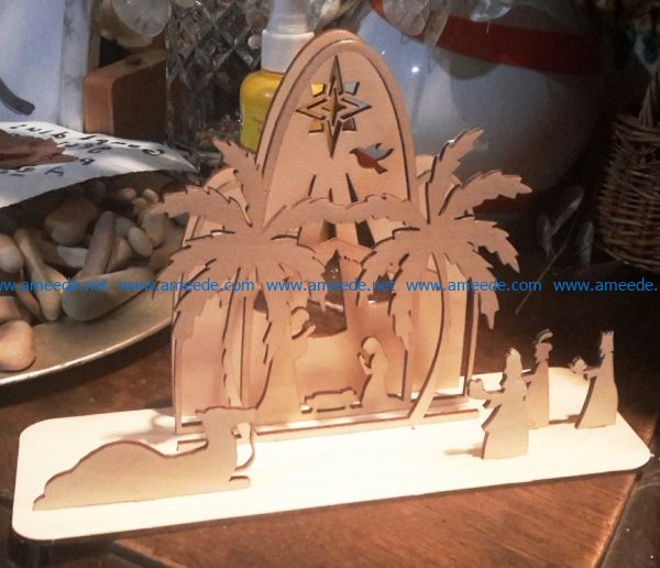 Christmas scene file cdr and dxf free vector download for Laser cut