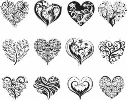 Decorative heart motifs  free vector download for print or laser engraving machines