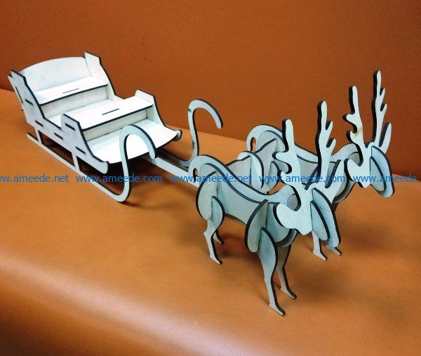 Deer and sleigh file cdr and dxf free vector download for Laser cut