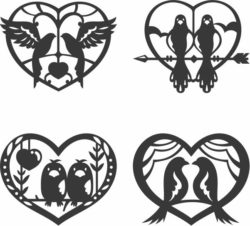 Double bird in heart  file cdr and dxf free vector download for Laser cut Plasma
