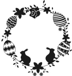 Easter wreath with rabbits  file cdr and dxf free vector download for Laser cut Plasma