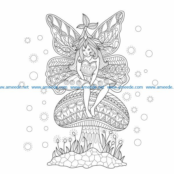 Fairies butterfly on a mushroom free vector download for print or laser engraving machines