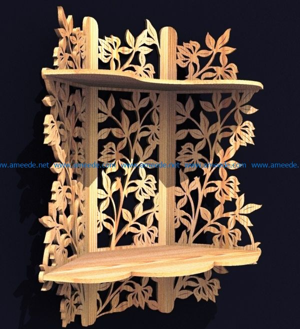 Flowet wall shelves file cdr and dxf free vector download for Laser cut CNC