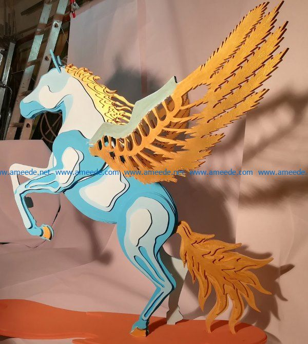 Flying Horse file cdr and dxf free vector download for Laser cut
