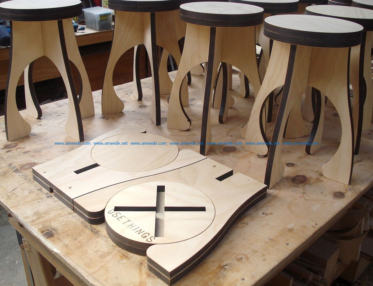 Folding stools dxf free vector download for Laser cut CNC