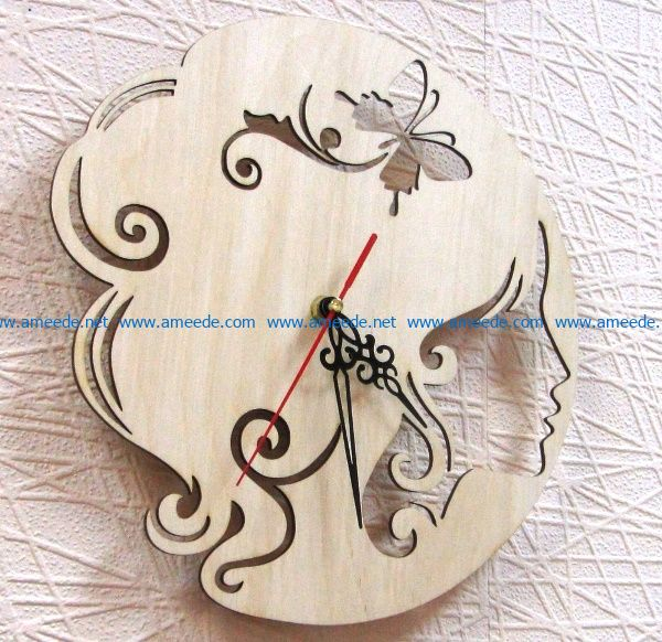 Girl clock file cdr and dxf free vector download for Laser cut