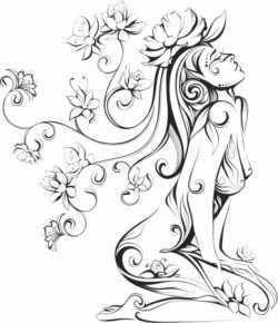 Girl with flowers file cdr and dxf free vector download for print or laser engraving machines