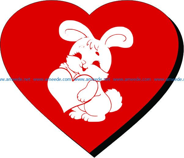 Heart and Rabbit file cdr and dxf free vector download for laser engraving machines