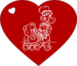 Heart and couple bear file cdr and dxf free vector download for laser engraving machines