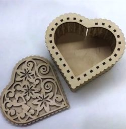 Heart shaped gift box  file cdr and dxf free vector download for Laser cut