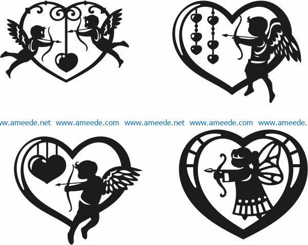 Heart to the angel of love file cdr and dxf free vector download for Laser cut Plasma