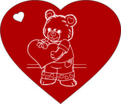 Heart with teddy bear  cdr and dxf free vector download for laser engraving machines