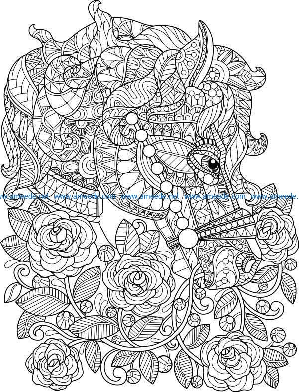 Horse with flowers file cdr and dxf free vector download for print or laser engraving machines