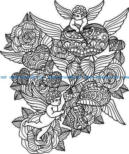 Love angels and flowers file cdr and dxf free vector download for laser engraving machines