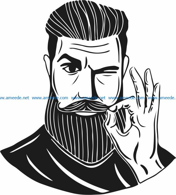Man with a beard free vector download for print or laser engraving machines