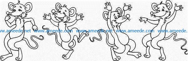 Murals of dancing mice file cdr and dxf free vector download for Laser cut Plasma