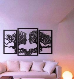Murals of trees human faces  file cdr and dxf free vector download for Laser cut