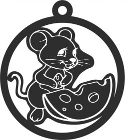 New Year 2020 toy mouse with piece of cheese free vector download for Laser cut