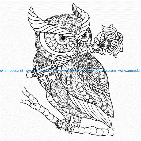 Owl on the tree branch free vector download for print or laser engraving machines