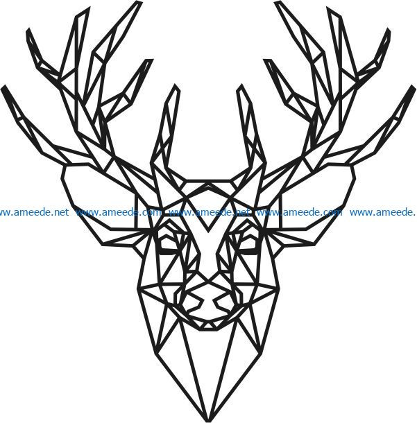 Panel polygonal deer head file cdr and dxf free vector download for Laser cut
