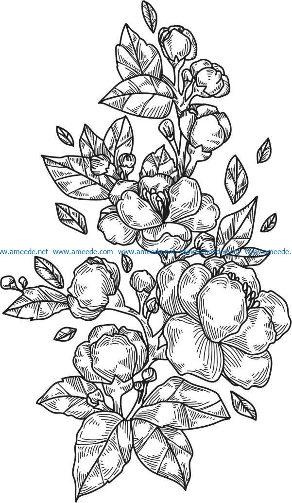 Peony flowers and leaves vertical file cdr and dxf free vector download for print or laser engraving machines