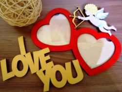 Photo frame i love you file cdr and dxf free vector download for Laser cut