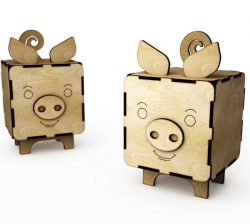 Pig box file cdr and dxf free vector download for Laser cut