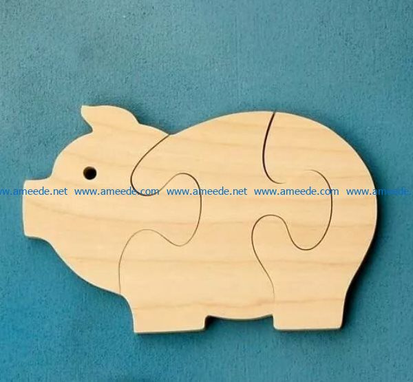 Pig puzzle piece file cdr and dxf free vector download for Laser cut