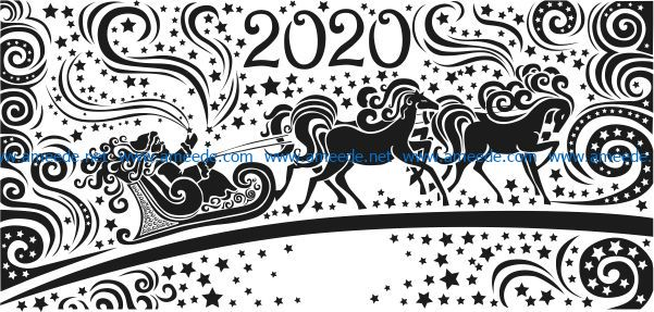 Santa Claus with reindeer happy new year 2020 free vector download for print or laser engraving machines