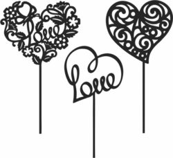 Toppers heart file cdr and dxf free vector download for Laser cut
