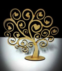 Tree Hearts file cdr and dxf free vector download for Laser cut