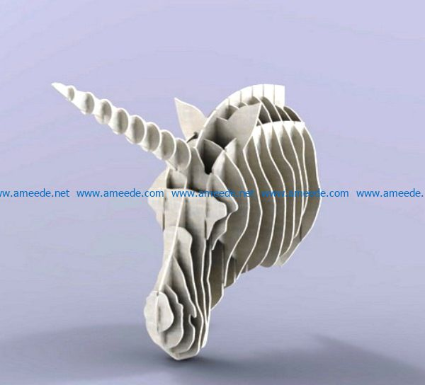 Unicorn head file cdr and dxf free vector download for Laser cut