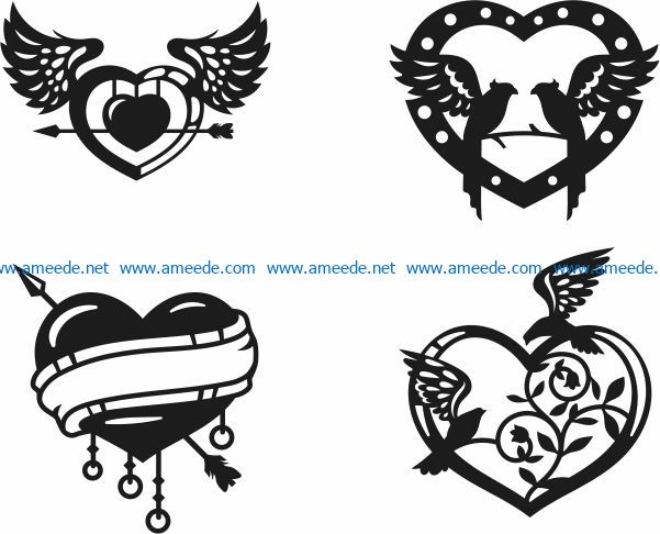 Valentine heart file cdr and dxf free vector download for Laser cut Plasma