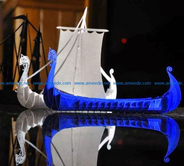 Viking Boat file cdr and dxf free vector download for Laser cut