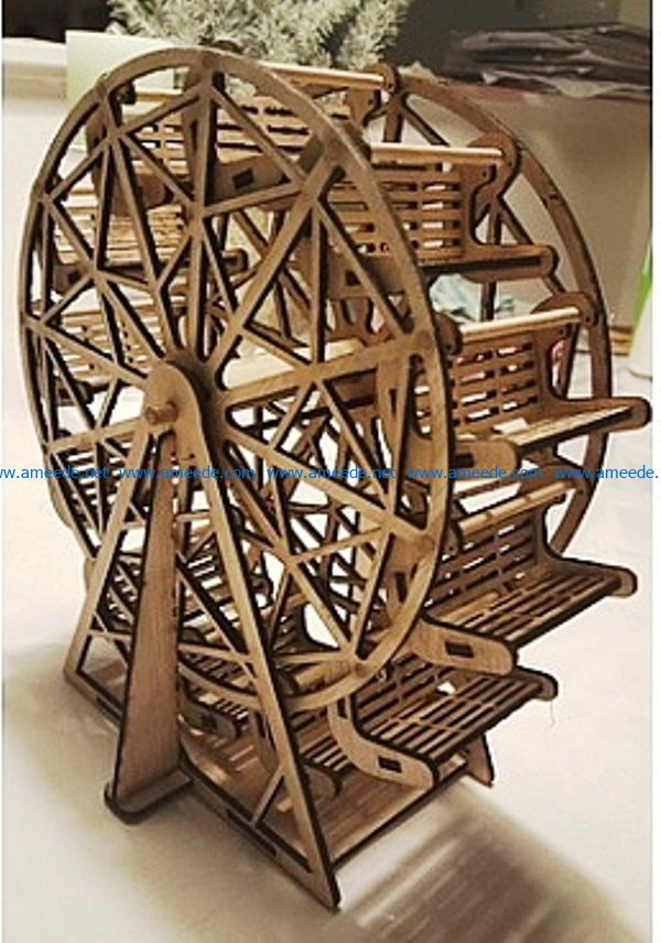 Wooden ferris wheel file cdr and dxf free vector download for Laser cut
