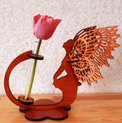 Wooden vase with fairy butterfly file cdr and dxf free vector download for Laser cut