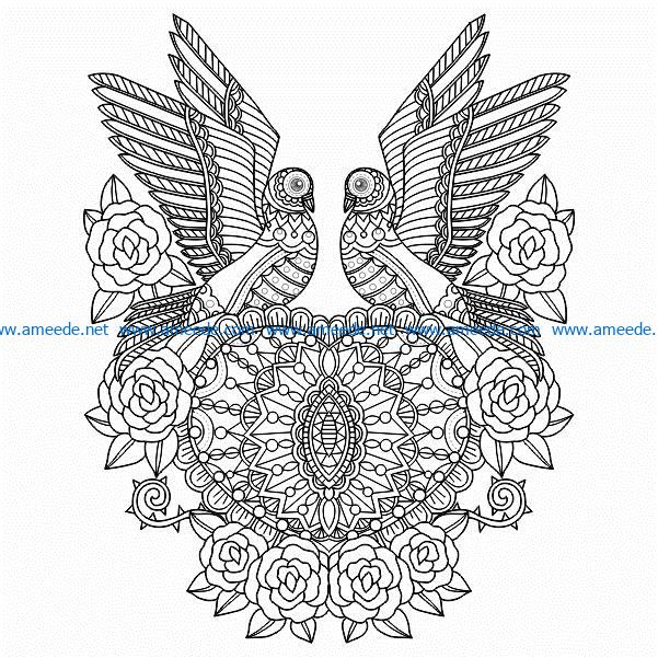 bird couple and heart free vector download for print or laser engraving machines